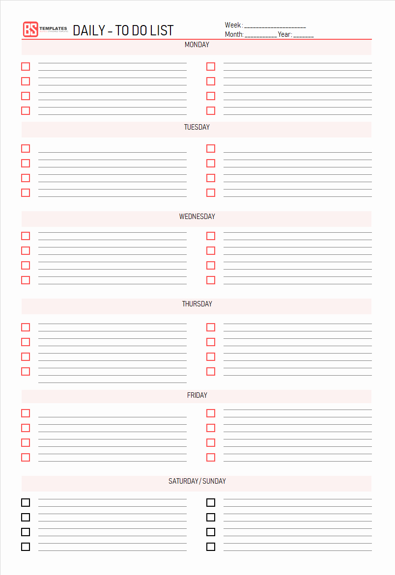 Daily to Do List Template Elegant Printable to Do List Template – Excel Sample Example Pdf