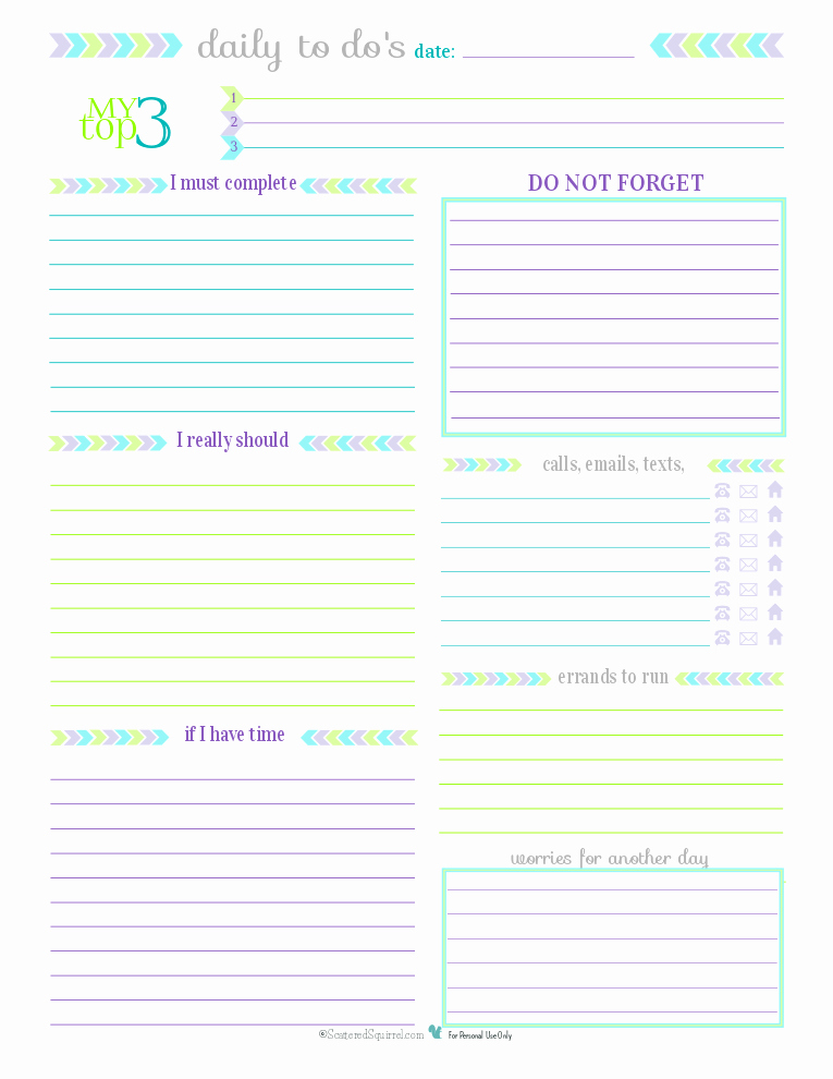 Daily to Do List Templates Beautiful Day 27 to Do List Printables Scattered Squirrel