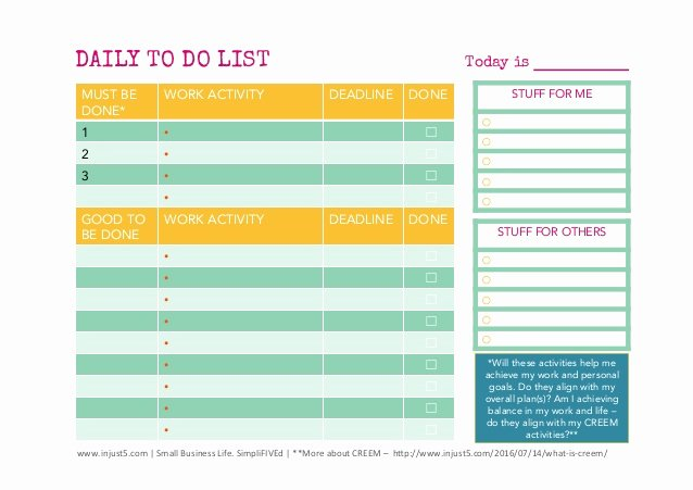 Daily to Do List Templates Best Of Daily and and Weekly to Do List Templates for Small Business