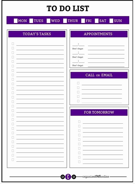 Daily to Do List Templates Best Of Daily Work to Do List Printable