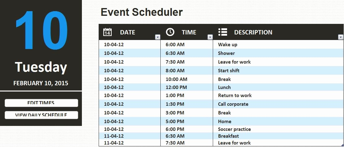Daily Work Schedule Template Best Of Ms Excel Daily Work Schedule Template