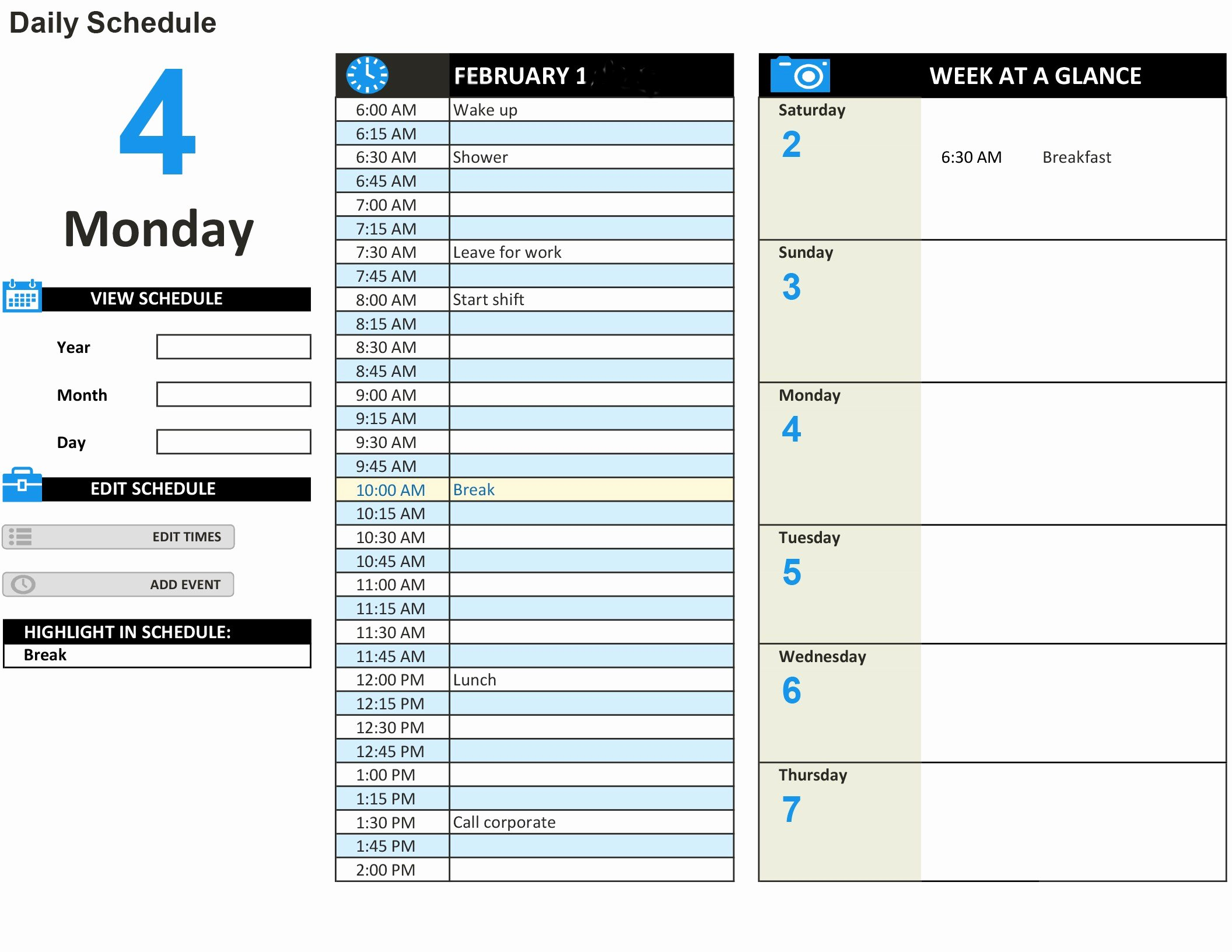 Daily Work Schedule Template Elegant Daily Work Schedule