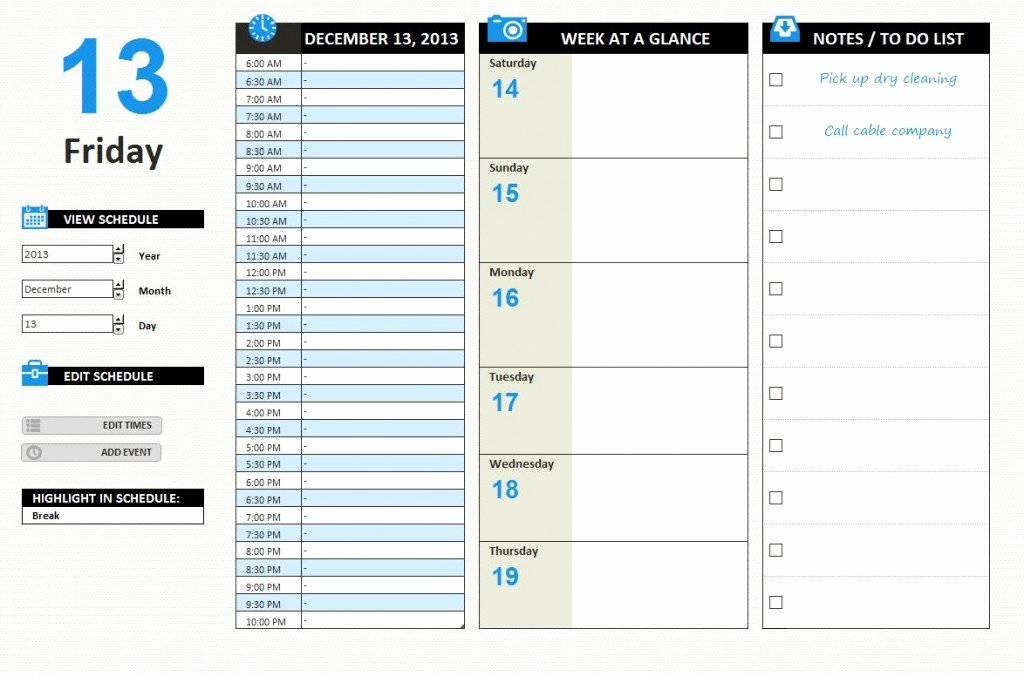 Daily Work Schedule Template Luxury Daily Work Schedule Template Excel