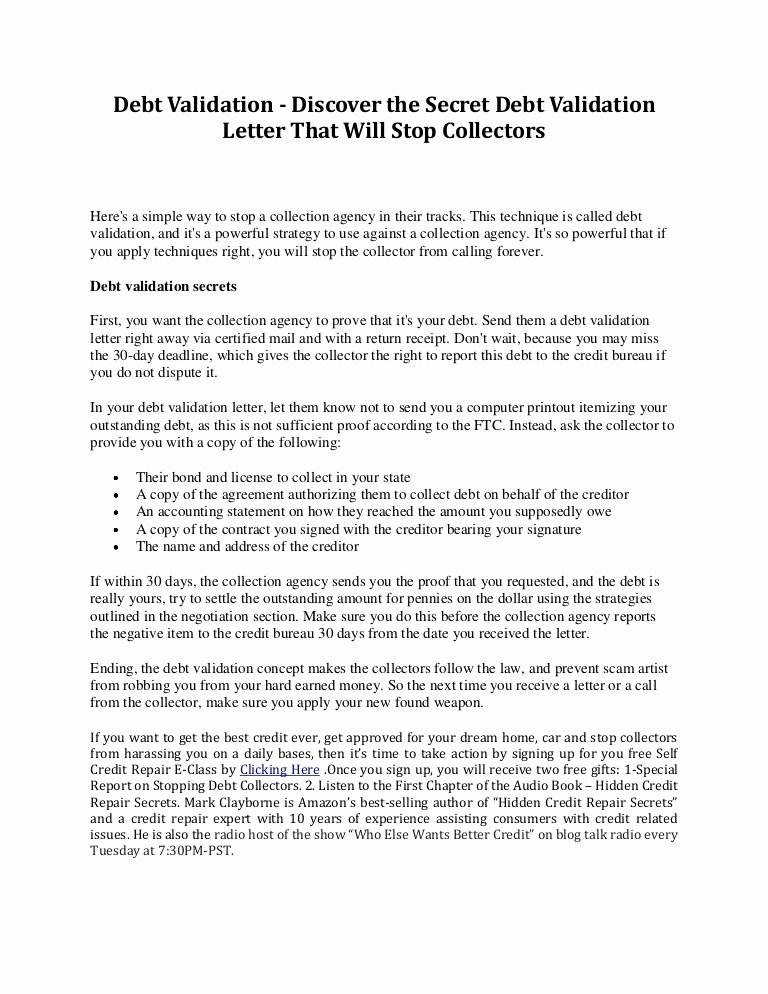 Debt Validation Letter Template Best Of Debt Validation Discover the Secret Debt Validation Letter