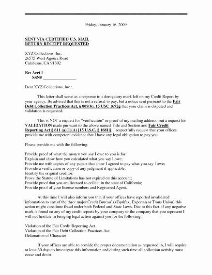 Debt Validation Letter Template Unique New Debt Validation Letter Sample Download