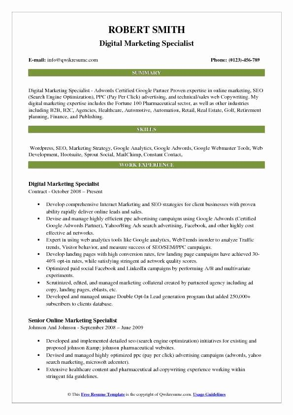 Digital Marketing Resume Sample Best Of Marketing Resume Samples Examples and Tips