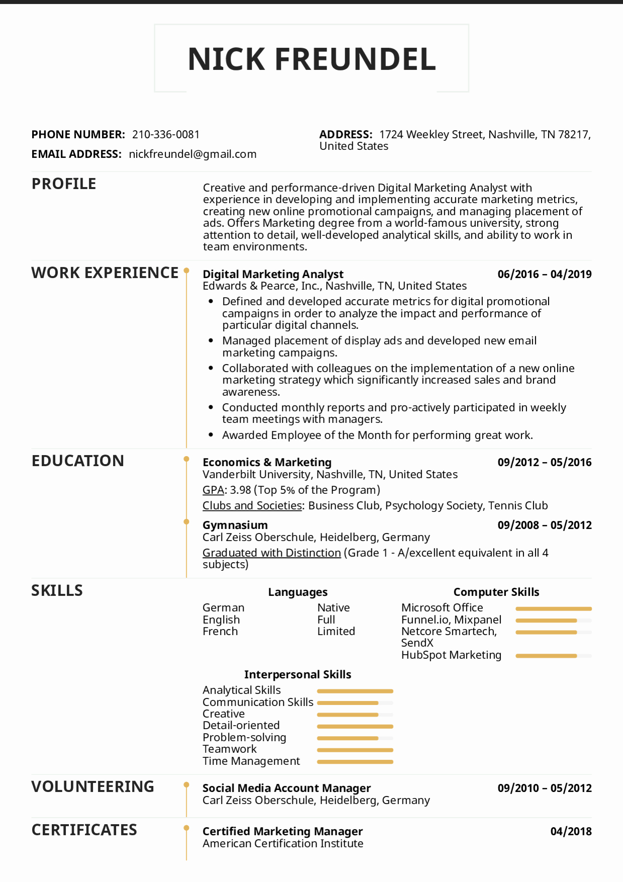 Digital Marketing Resume Sample Elegant Resume Examples by Real People Digital Marketing Analyst