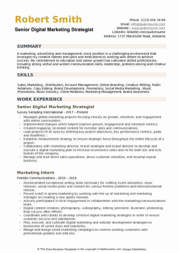 Digital Marketing Resume Sample Fresh Digital Marketing Strategist Resume Samples