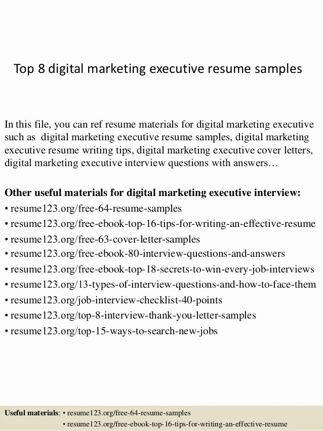 Digital Marketing Resume Sample Fresh top 8 Digital Marketing Executive Resume Samples