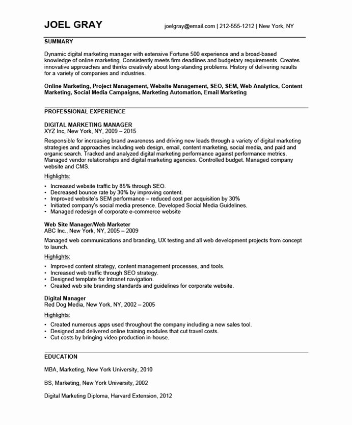 Digital Marketing Resume Sample Inspirational Digital Marketing Manager Free Resume Samples