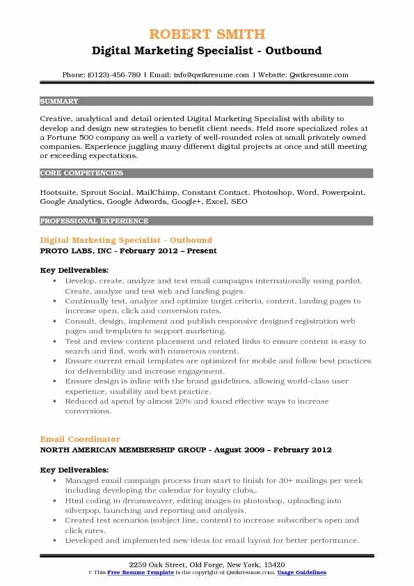 Digital Marketing Resume Sample Inspirational Digital Marketing Specialist Resume Samples
