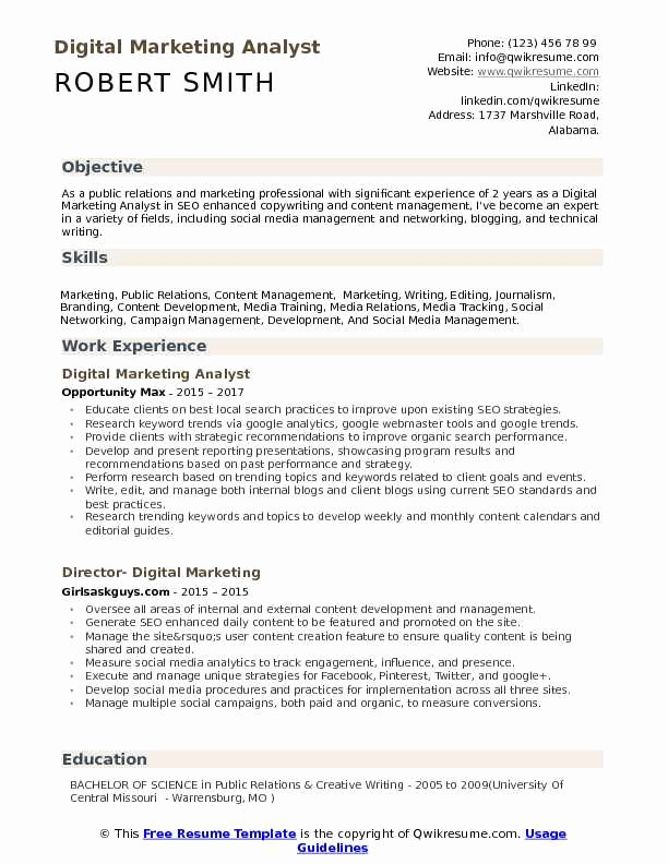 Digital Marketing Resume Sample Luxury Digital Marketing Analyst Resume Samples