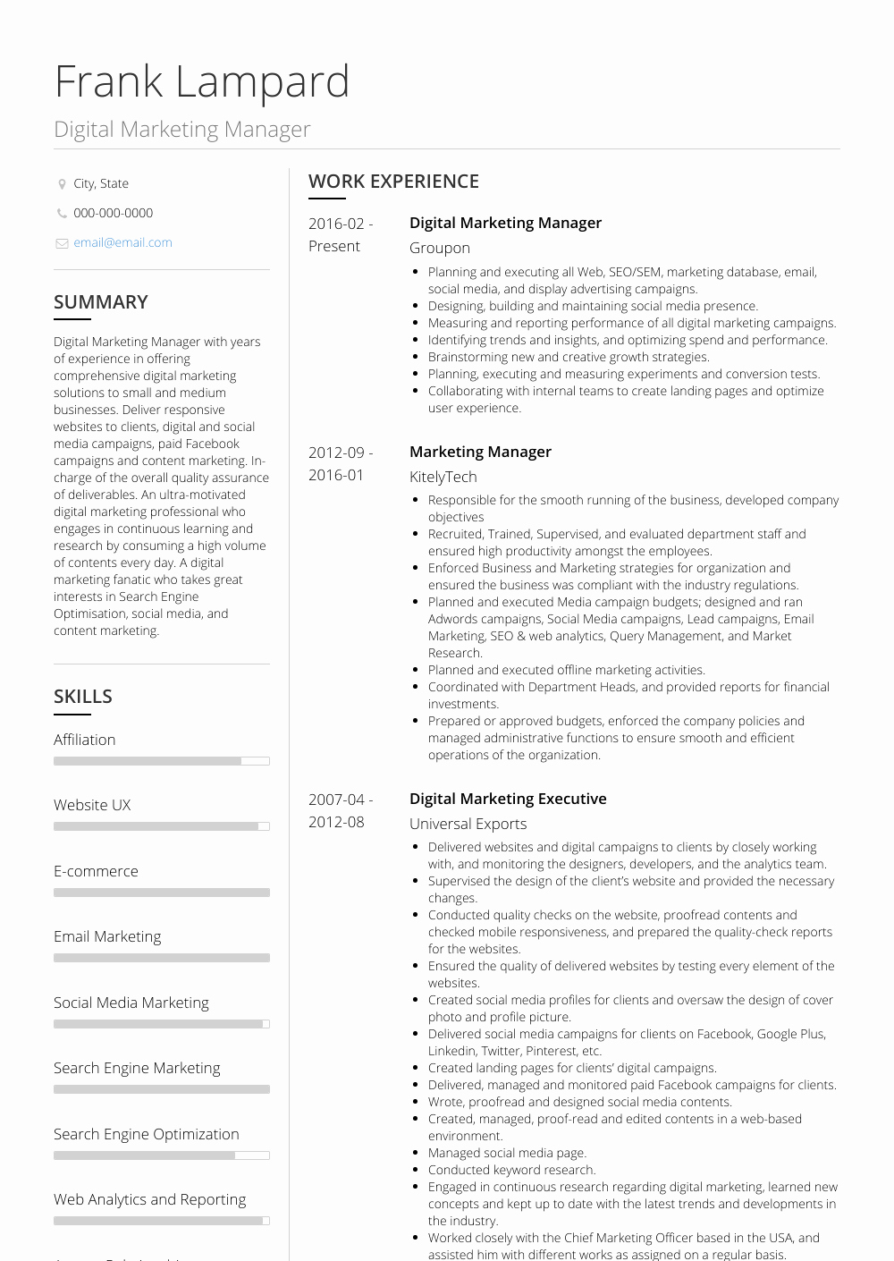 Digital Marketing Resume Sample Luxury Digital Marketing Manager Resume Samples & Templates