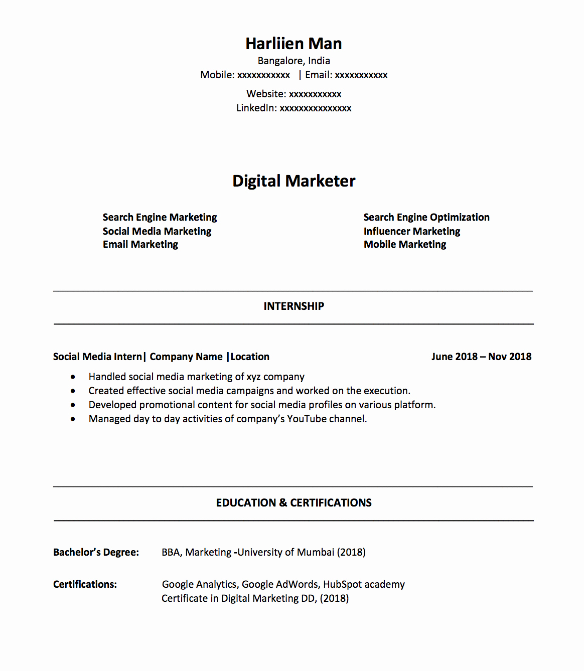 Digital Marketing Resume Sample Luxury How to Make A Digital Marketing Resume as A Fresher In 2019
