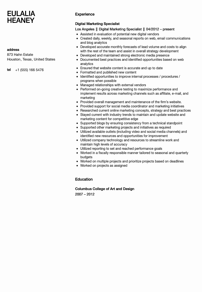 Digital Marketing Resume Sample New Digital Marketing Specialist Resume Sample