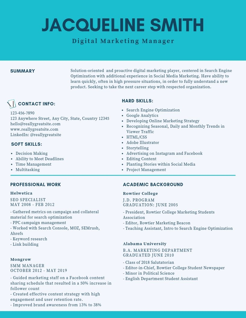 Digital Marketing Resume Sample Unique Digital Marketing Manager Resume Samples & Templates [pdf