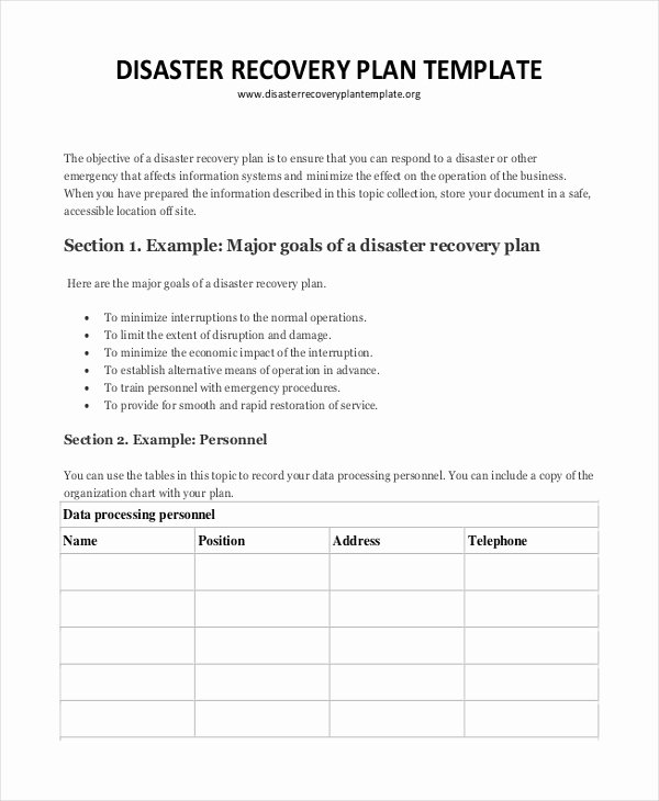 Disaster Recovery Plan Example Awesome Plan Template 21 Free Word Pdf Psd Indesign format