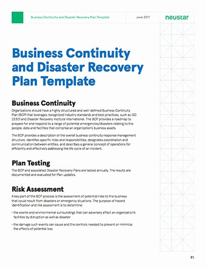 Disaster Recovery Plan Example Best Of Business Continuity and Disaster Recovery Plan Template