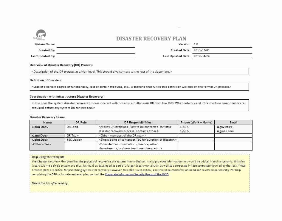 Disaster Recovery Plan Example Fresh 52 Effective Disaster Recovery Plan Templates [drp