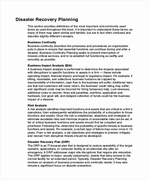 Disaster Recovery Plan Example Fresh Database Disaster Recovery Plan Example