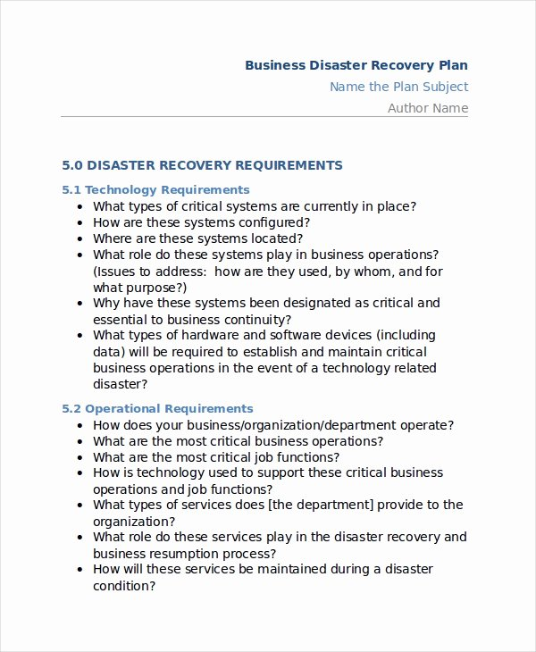 Disaster Recovery Plan Example Luxury 13 Disaster Recovery Plan Templates Free Sample