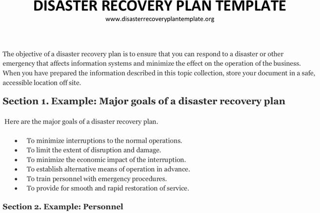Disaster Recovery Plan Example New Plan Template