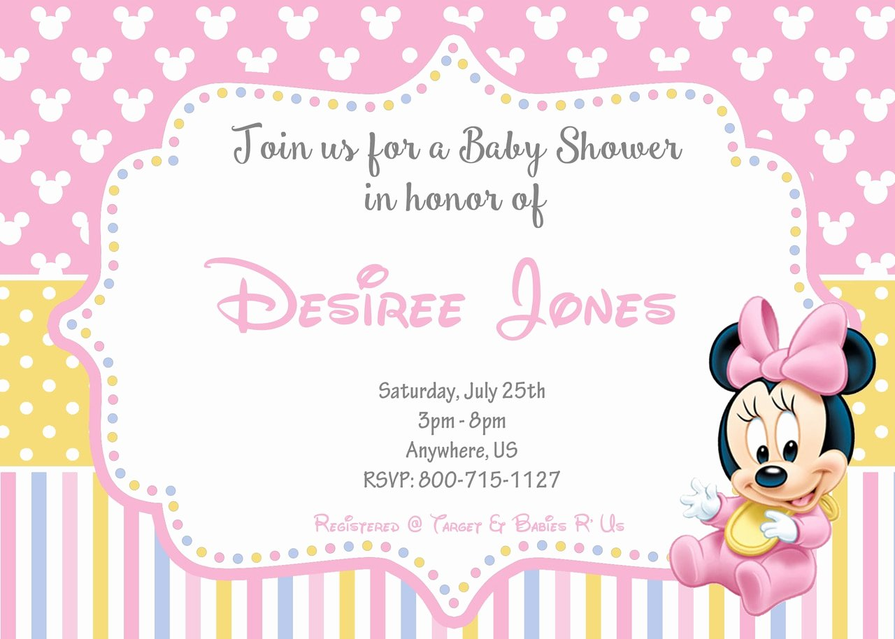 Disney Baby Shower Invitations Awesome Disney Baby Minnie Baby Shower Invitations