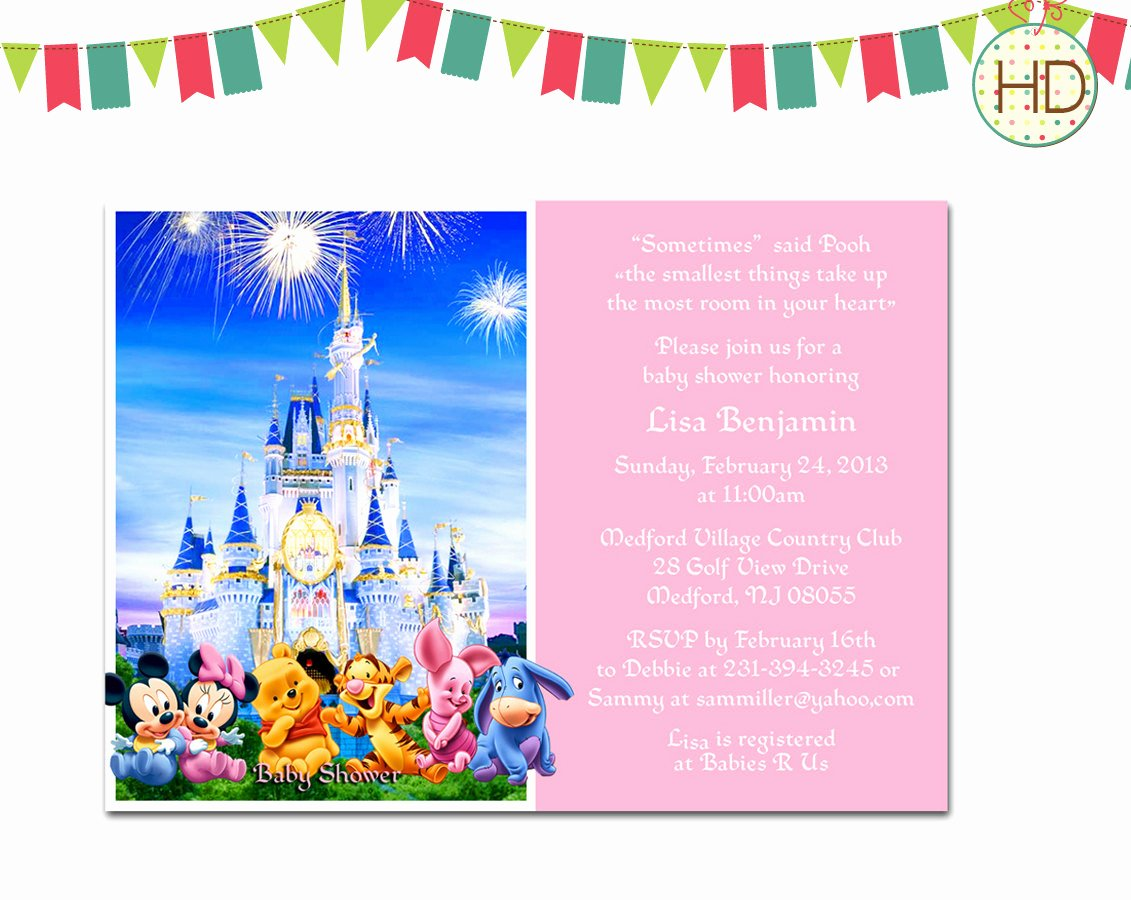 Disney Baby Shower Invitations Awesome Disney Baby Shower Invitation Disney Castle Baby by