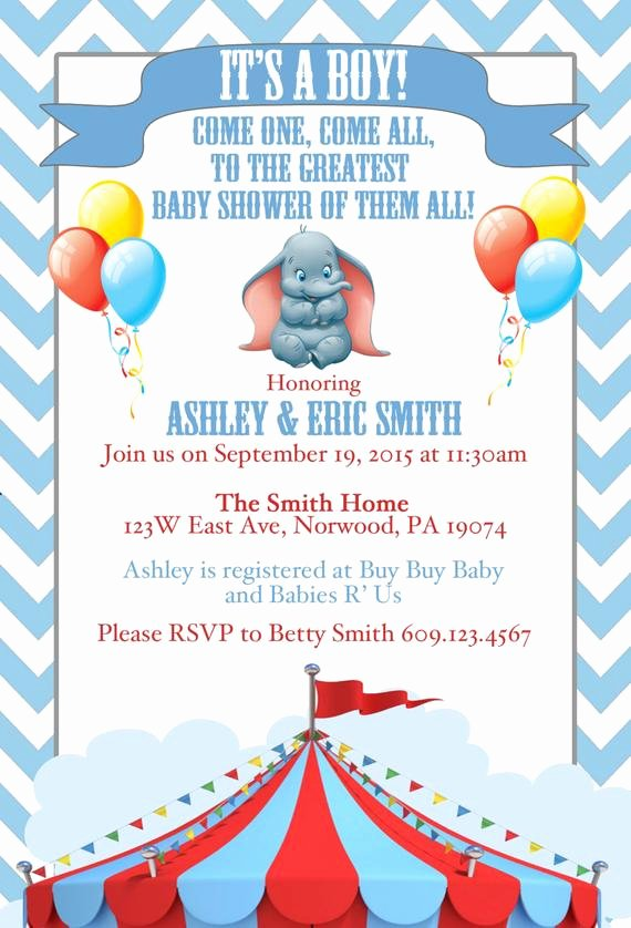 Disney Baby Shower Invitations Awesome Disney Dumbo Baby Shower Invite by Srosadodesigns On Etsy