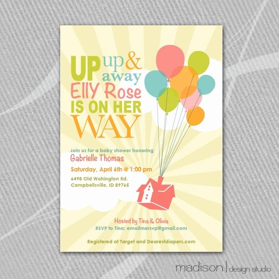 Disney Baby Shower Invitations Beautiful Up Inspired Disney Baby Shower Invitation Printable
