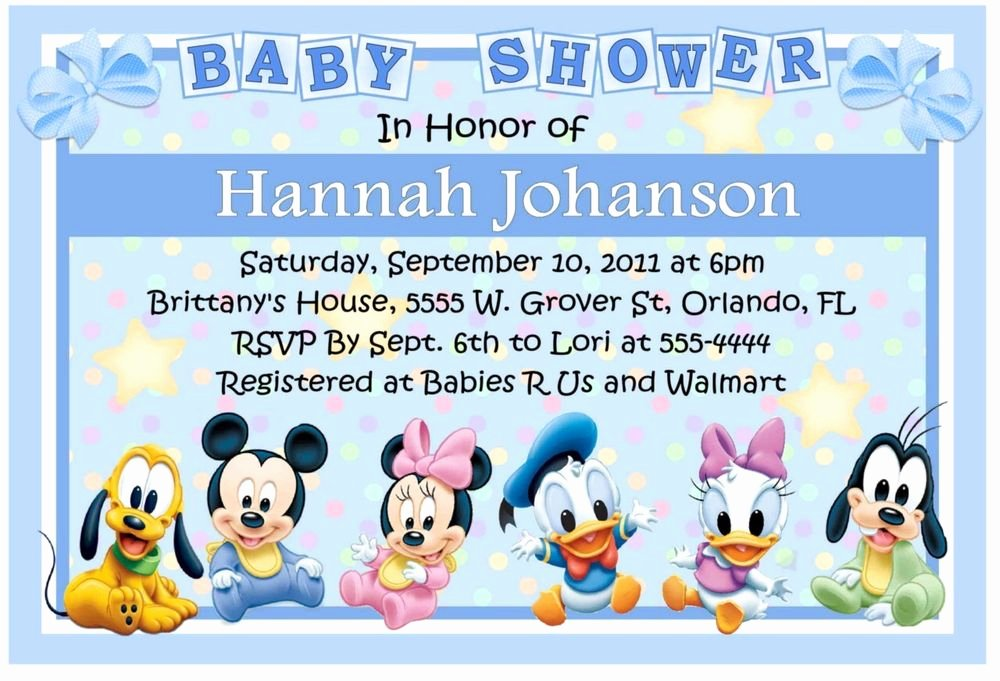 Disney Baby Shower Invitations Elegant Baby Mickey Disney Babies Baby Shower Invitations