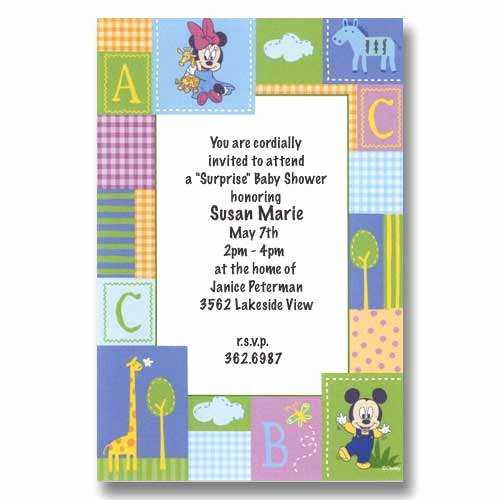 Disney Baby Shower Invitations Fresh Disney Baby Mickey Minnie Baby Shower Invitations