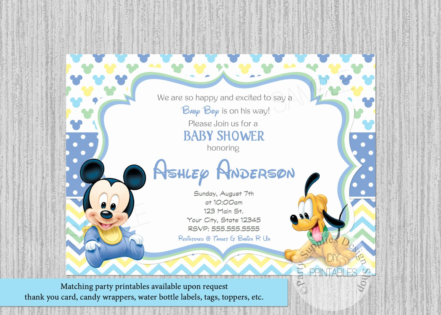 Disney Baby Shower Invitations Inspirational Disney Baby Mickey Mouse Baby Shower Invitations Mickey Baby