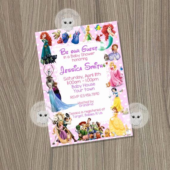 Disney Baby Shower Invitations Lovely Baby Shower Invitation for Girl Disney Baby Shower by