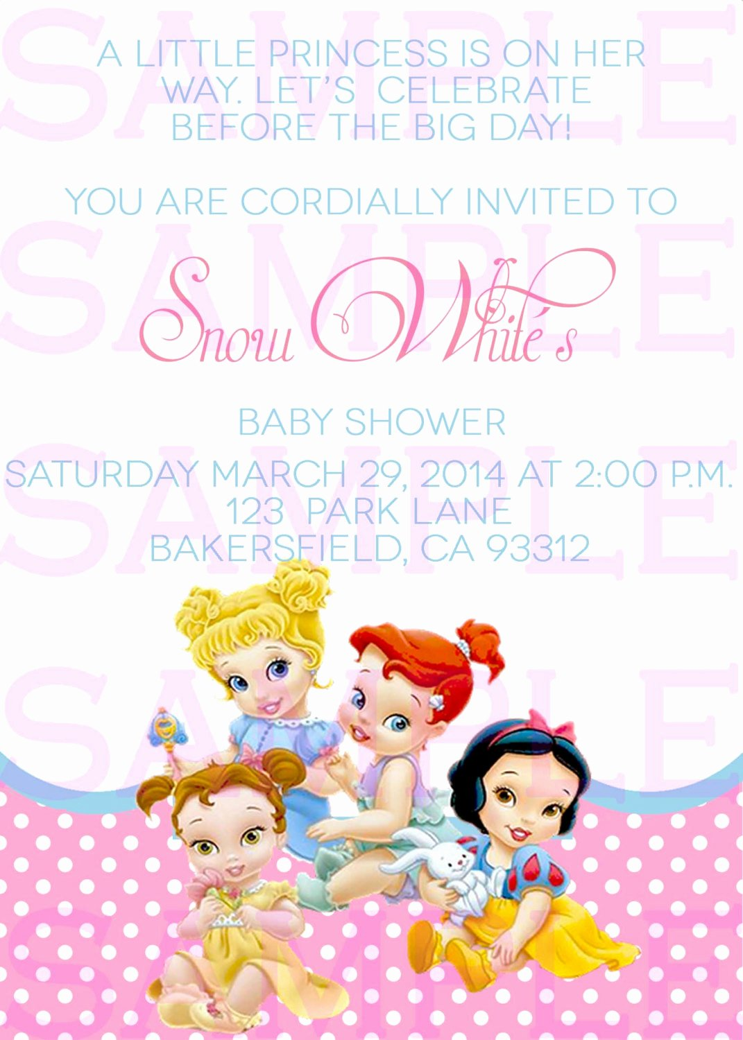 Disney Baby Shower Invitations Lovely Baby Shower Invitation Princess Disney Babies Girl