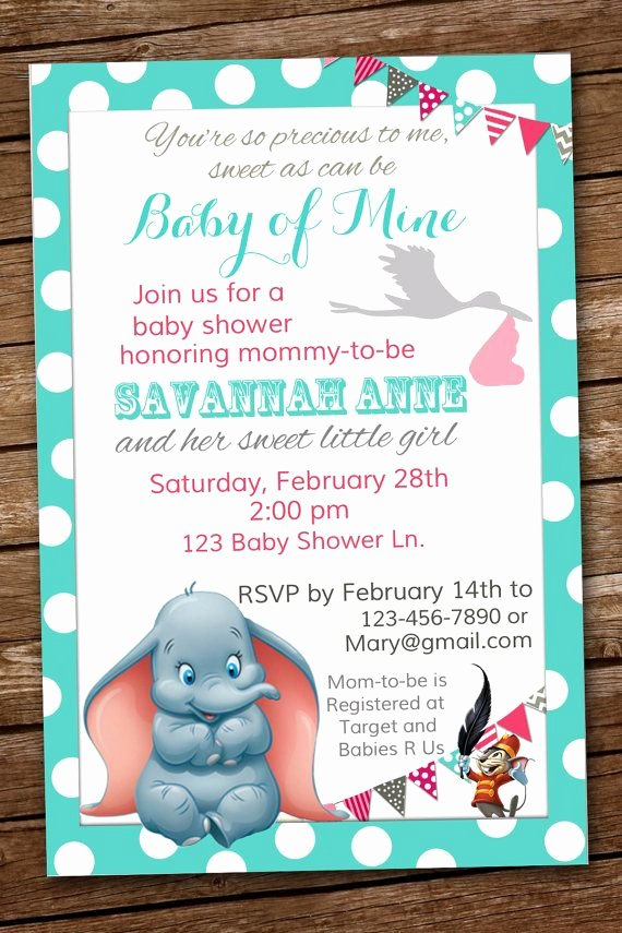 Disney Baby Shower Invitations New 25 Best Ideas About Dumbo Baby Shower On Pinterest