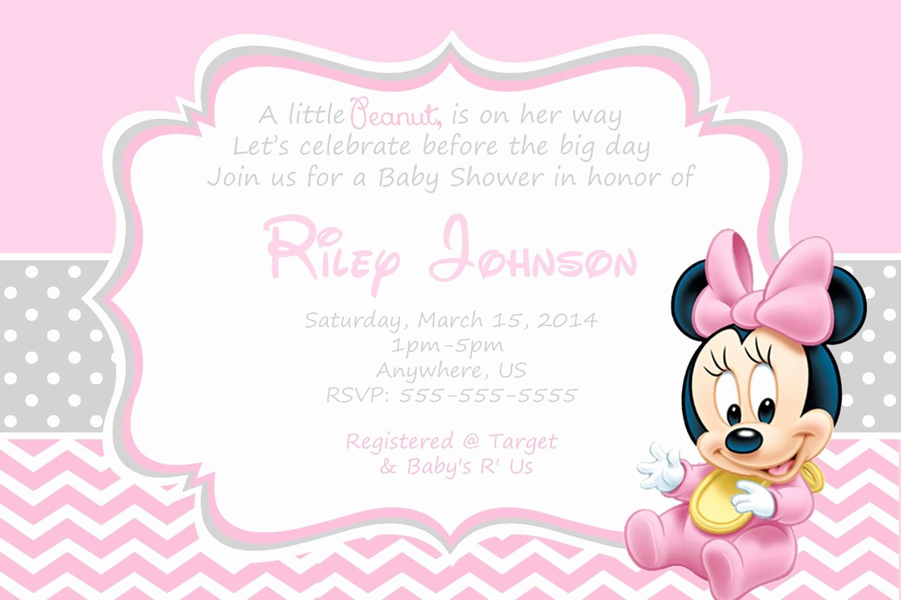 Disney Baby Shower Invitations New Baby Minnie Mouse Baby Shower Invitations
