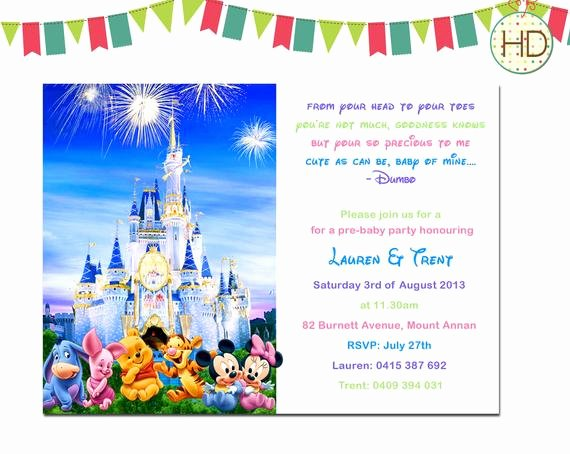 Disney Baby Shower Invitations New Disney Baby Shower Invitation Disney Castle Baby by