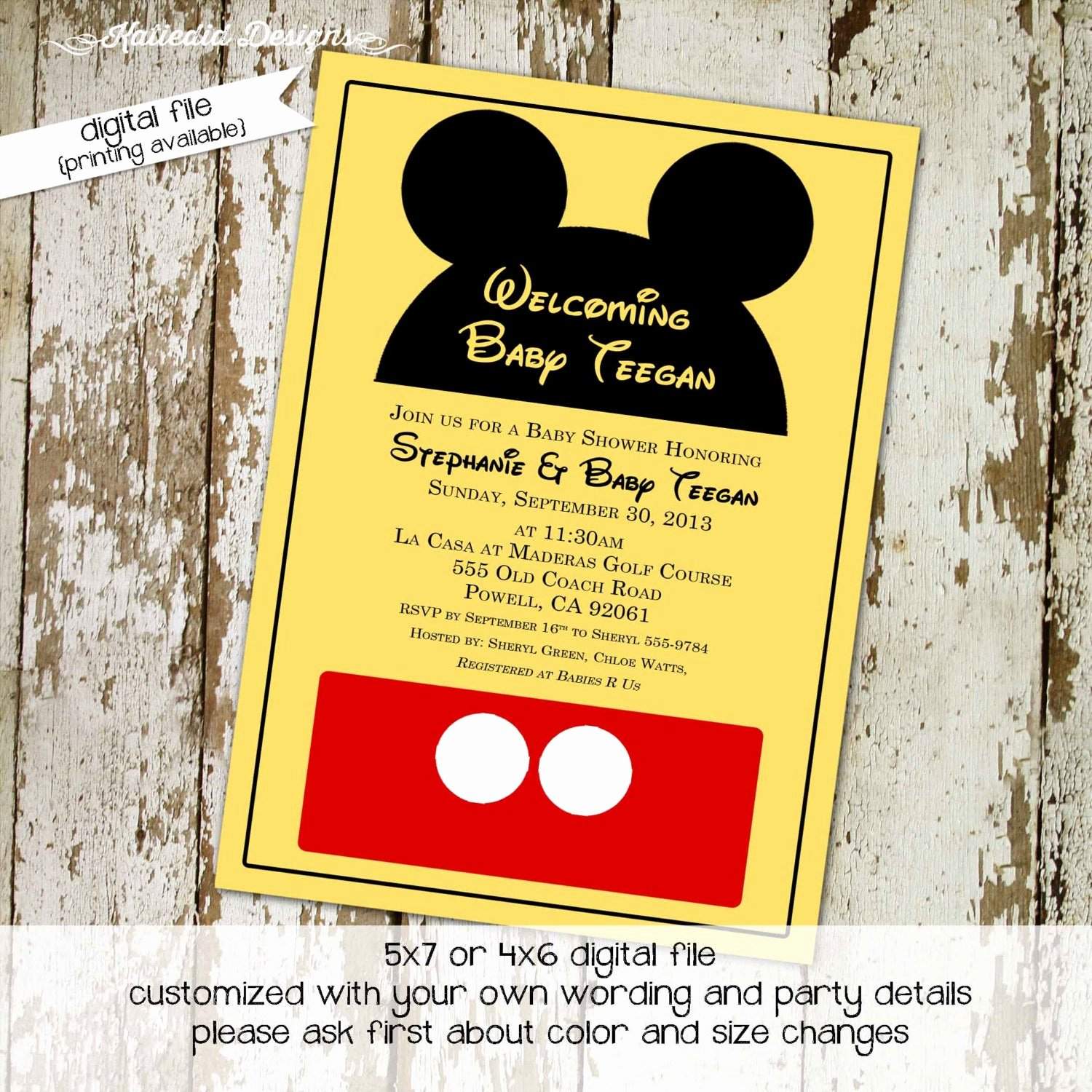 Disney Baby Shower Invitations New Disney Baby Shower Invitation Mickey Mouse Birthday Invitation