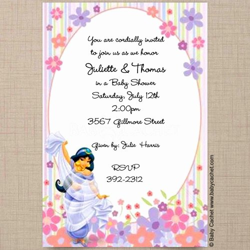 Disney Baby Shower Invitations New Disney Princess Jasmine Baby Shower Invitations