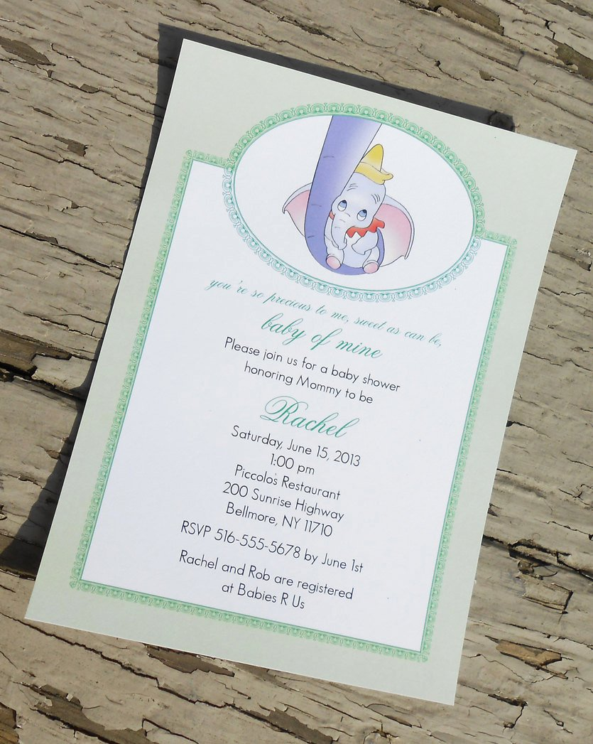 Disney Baby Shower Invitations Unique Disney S Dumbo Baby Shower Invitation Custom Printable