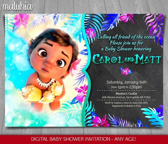 Disney Baby Shower Invitations Unique Moana Baby Shower Invitation Disney Baby Moana Invite