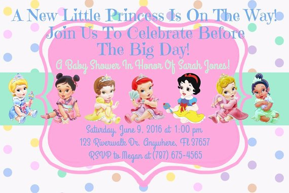 Disney Baby Shower Invitations Unique Princess Disney Baby Shower Invitation Download Disney