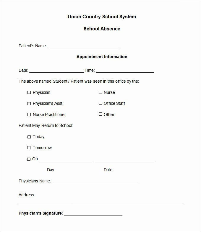 Doctors Note for Work Absence Fresh 22 Doctors Note Templates Free Sample Example format