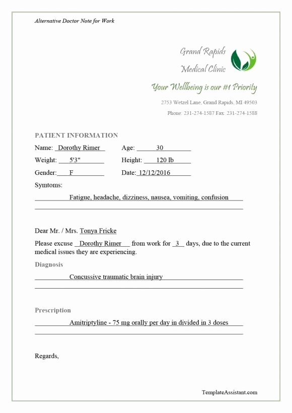 Doctors Note for Work Absence Fresh 40 Fake Doctors Note Template Download [pdf Doc]