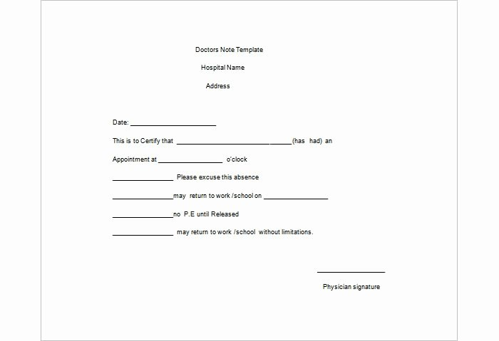 Doctors Note for Work Pdf Awesome 25 Free Printable Doctor Notes Templates for Work Updated