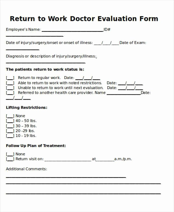 Doctors Note for Work Pdf Beautiful Return to Work Doctors Note Template