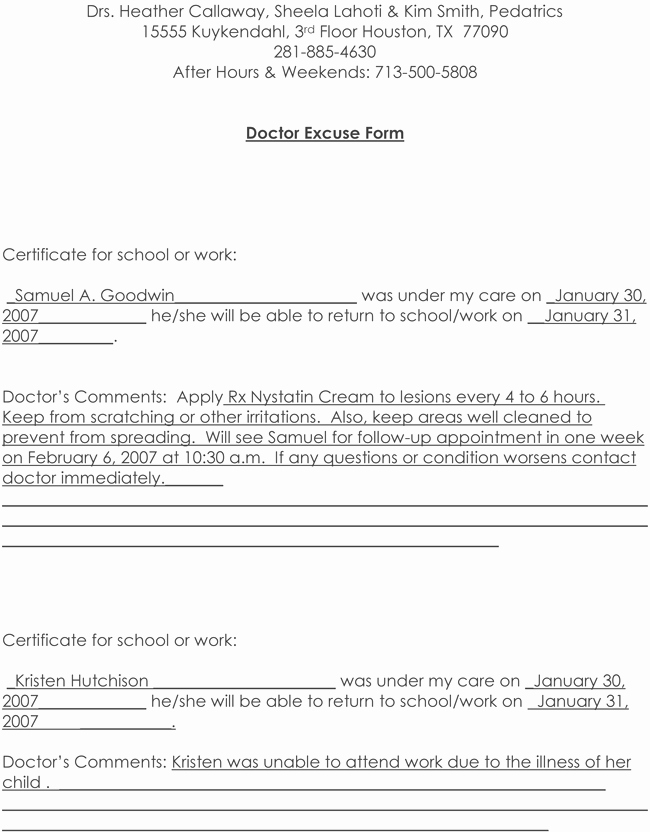 Doctors Note for Work Pdf Elegant Doctors Note Template 10 Professional Samples to Create