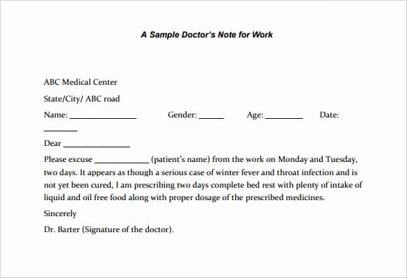 Doctors Note for Work Pdf Unique 4 Printable Doctor S Note for Work Templates Pdf Word