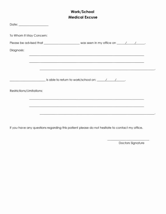 Doctors Note Template Pdf Awesome Doctors Note for School